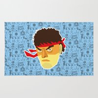 street fighter Area & Throw Rugs featuring Ryu - Street Fighter by Kuki