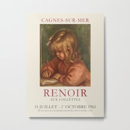 Pierre-Auguste Renoir. Vintage poster for exhibition in Cagnes-Sur-Mer, 1961. Metal Print