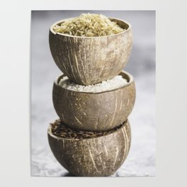 Assortment of different rice in bowls Poster