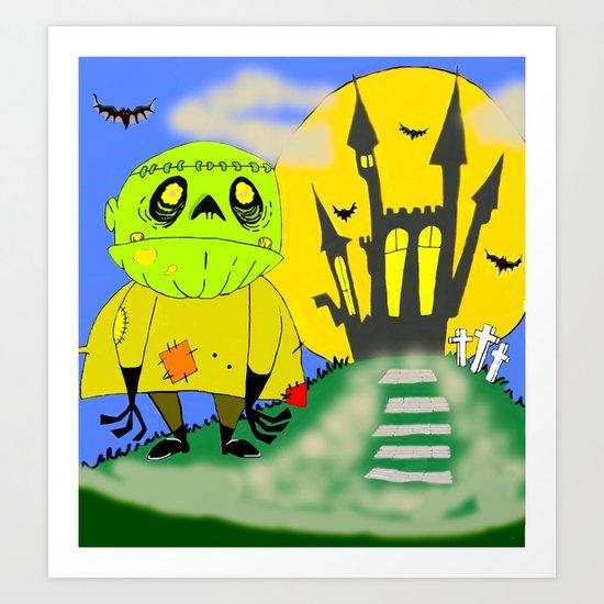 Franken Zombie Night Art Print