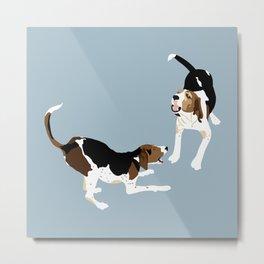 Coonhound Play Metal Print