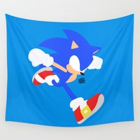 sonic Wall Tapestries featuring Sonic(Smash) by ejgomez