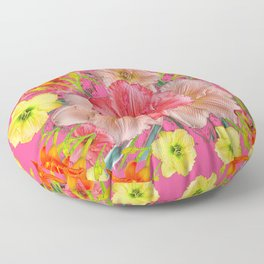YELLOW PINK & CREAM DAYLILIES COLLAGE Floor Pillow