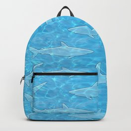 Pattern of sharks and blue water Backpack