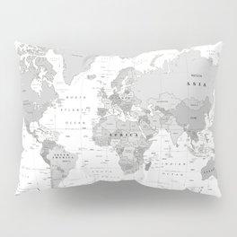 World Map [Black and White] Pillow Sham