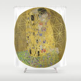 The Kiss - Gustav Klimt - Golden Flower Of Life Shower Curtain