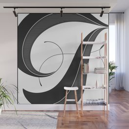 Letter F - Script Lettering Cropped Design Wall Mural