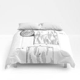 Toilet Paper Patent - Bathroom Art - Black And White Comforters