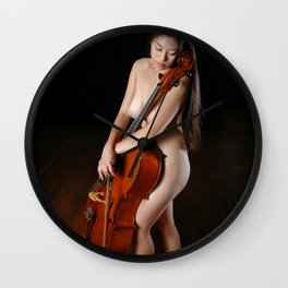 0199-JC Nude Cellist with Her Cello and Bow Naked Young Woman Musician Art Sexy Erotic Sweet Sensual Wall Clock