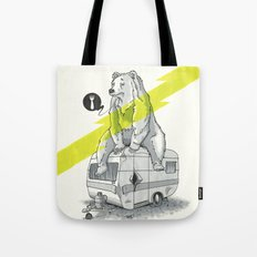 Camping Bear Tote Bag