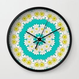 White Daisies on Turquoise Background Wall Clock