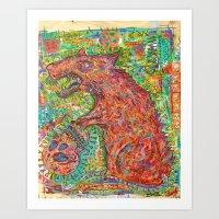 rat Art Prints featuring rat by strait89