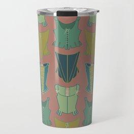 18th Century Corset Stays Illustrated Pattern Print Travel Mug