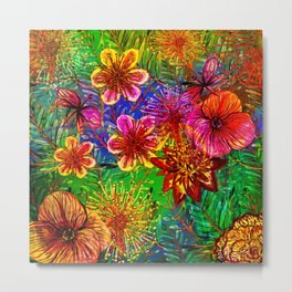 Tropical Heat-Colorful Floral Exotic Tropical Flower Pattern Metal Print