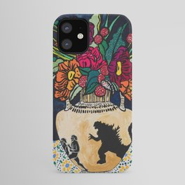 Godzilla Greek Urn with Peony Bouquet Winter Floral Still Life Painting iPhone Case