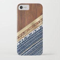 Navy & Gold Tribal on Wood Slim Case iPhone 7
