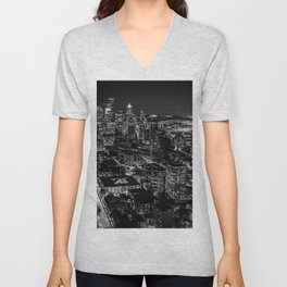 Seattle from the Space Needle in Black and White Unisex V-Neck
