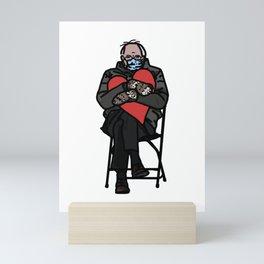 Bernie Sanders in Mittens Holding Red Heart Mini Art Print