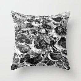 River Rock Cobblestones Black White Throw Pillow
