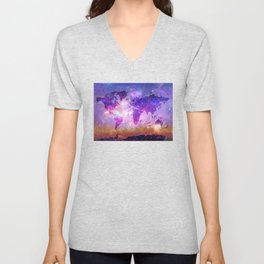 world map galaxy sky Unisex V-Neck