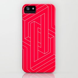 Modern minimal Line Art / Geometric Optical Illusion - Red Version  iPhone Case
