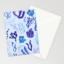 Funky Seaweed in Blue and Purple Stationery Cards