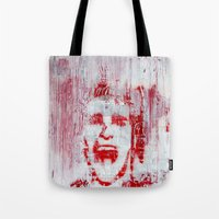 american psycho Tote Bags featuring AMERICAN PSYCHO by John McGlynn