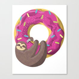 Cute sloth hanging from the donut Canvas Print