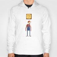 pixel Hoodies featuring Pixel Plumber by Michael B. Myers Jr.