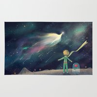 the little prince Area & Throw Rugs featuring The Little Prince by Nic Lim