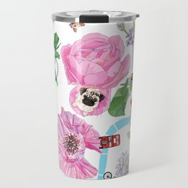 London in Bloom - Flowers and transportation that make London Travel Mug