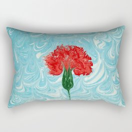 Watercolor marbled red carnation Rectangular Pillow