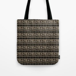 The lace pattern. Beige pattern on black background. Tote Bag