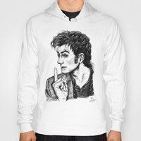 """david tennant Hoodies featuring The Doctor - David Tennant - """"Fingers on Lips!"""" by ieIndigoEast"""