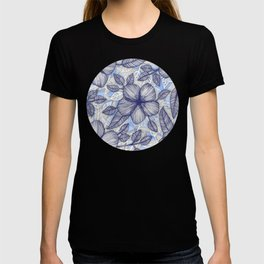 Indigo Summer - a hand drawn floral pattern T-shirt