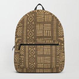Golden ochre lines and dots on textured cloth - abstract stripe geometric pattern Backpack