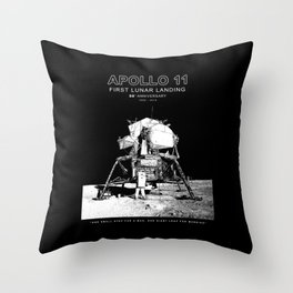 Apollo 11 - 50th Anniversary 1969-2019 - Lunar Landing - Moon Throw Pillow