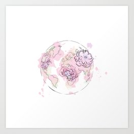 World Map Pink #Globe #graphicdesign Art Print
