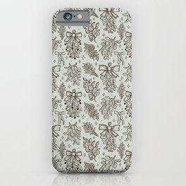 Christmas Florals in Mint iPhone Case