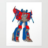 transformers Art Prints featuring Transformers-Optimus by green.lime