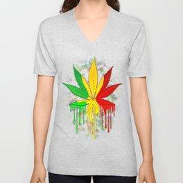 Marijuana Leaf Rasta Colors Dripping Paint Unisex V-Neck