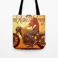 rebel Tote Bags featuring Rebel by Salva Laserna