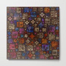 Mayan glyphs and ornaments pattern #3 Metal Print