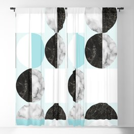 Mid Modern Moon and Sun Geometric Pattern - blue Blackout Curtain