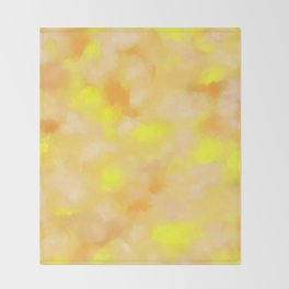 Yellow Liquid Gold Marble Abstract Throw Blanket