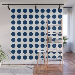Dark blue and white polka dots pattern Wall Mural