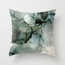 Charcoal Wisp: Original Abstract Alchol Ink Painting Throw Pillow