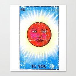 El Sol Mexican Loteria Bingo Card Canvas Print