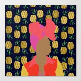 Pineapple Bawse Babe (Blue) Canvas Print