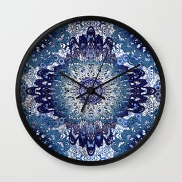 Indigo Lace Mandalas Wall Clock